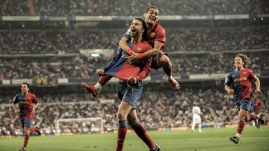 صورة برشلونة يحتفل بكلاسيكو 2009 على ملعب الريال